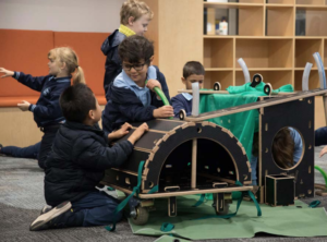 Children interacting with the Nüdel Kart as part of curriculum and play based learning